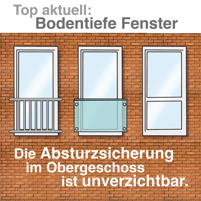 Bodentiefe Fenster: Absturzsicherung om Obergeschoss unverzichtbar