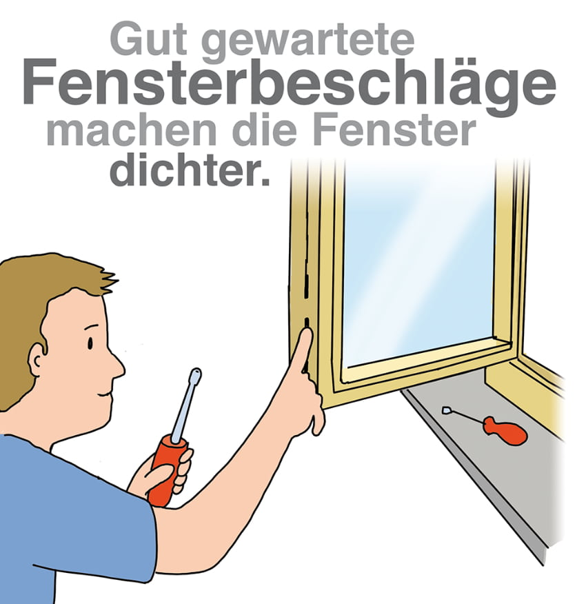 Fensterbeschläge regelmäßig warten