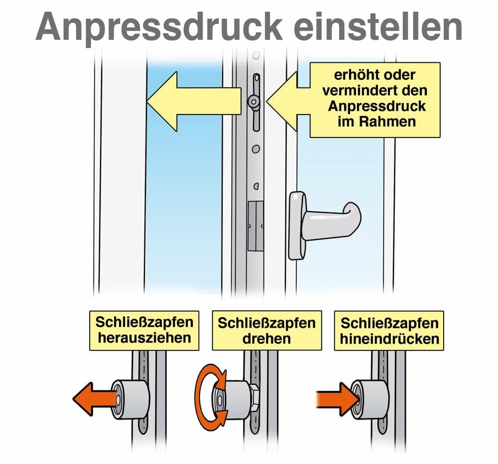 Fenster einstellen: Anpressdruck einstellen