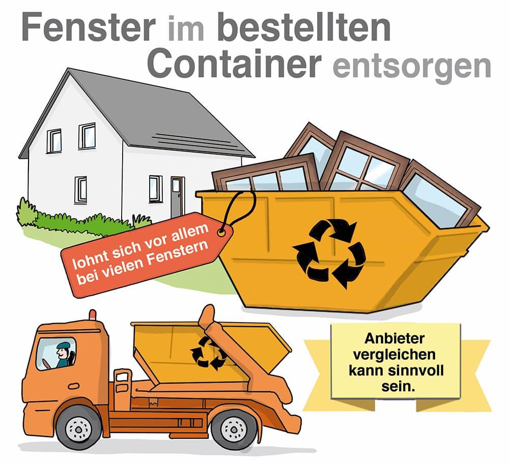 Fenster über Containerdienst entsorgen: Anbieter vergleichen kann lohnen