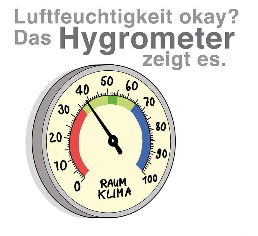 Luftfeuchtigkeit ok? Das Hygrometer kann es anzeigen