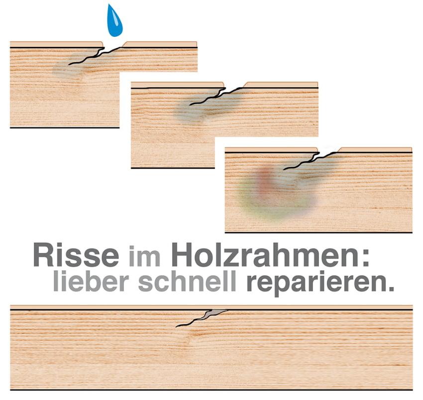 Risse am Holzrahmen lieber schnell reparieren