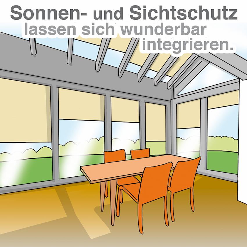 Wintergarten: Sicht- und Sonnenschutz lassen sich wunderbar integrieren
