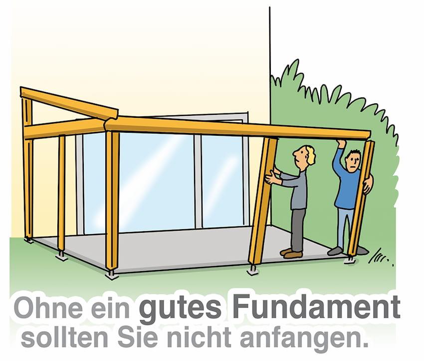 Terrassendach: Ohne ein gutes Fundament sollten Sie nicht anfangen