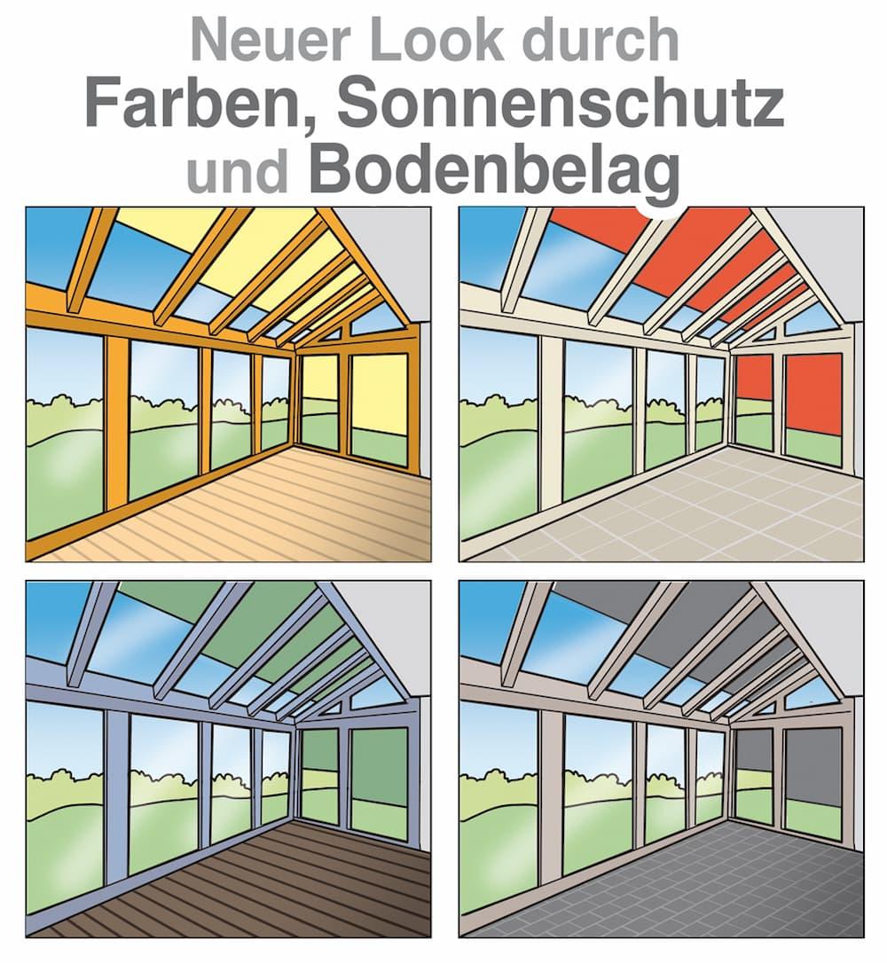Neuer Look für den Wintergarten: Farbe, Sonnenschutz und Bodenbelag